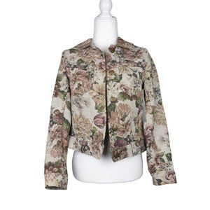 Caribbean Joe Floral Tapestry Button Front Jacket